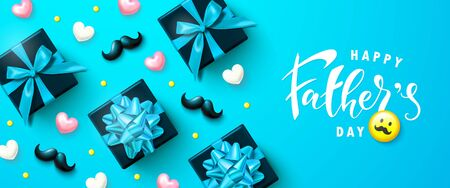 Happy fathers day banner with gift boxes, hearts and moustaches. Template design for postcard, flyer,poster, invitation.Vector illustration