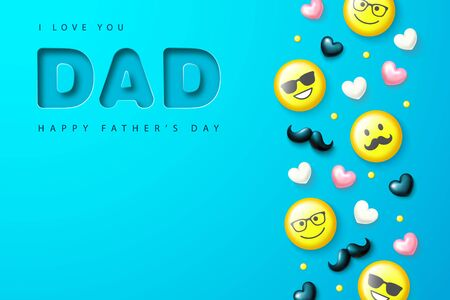 Happy father's day poster with yellow emoticons, hearts and mustache. Template design for postcard, flyer,banner, invitation.Vector illustration.