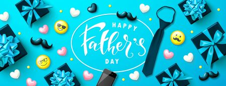 Happy father's day banner with gift boxes, yellow emoticons, hearts, mustache and tie. Template design for postcard, flyer,poster, invitation.Vector illustration.