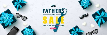 Father s Day sale template vector banner with tie,gift boxes, glasses, mustache, phone and white hearts.Design template for posters,flyers, invitation, promotional materials, brochure, voucher discount.