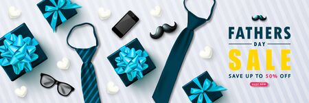 Happy Father s Day Sale banner with gift boxes, ties, glasses, phone, mustache and hearts.Design template for posters,flyers, invitation, promotional materials, brochure, voucher discount.