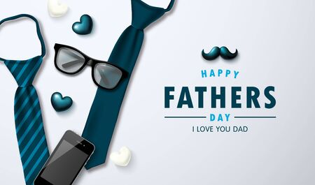 Vector father's day greetings card with ties, glasses, phone, mustache and hearts.Design template for posters, banners, promotional materials Ilustração