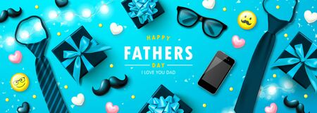 Happy father s day banner with tie, glasses, phone, mustache,emoticons and hearts.Design template for posters, postcard, promotional materials.