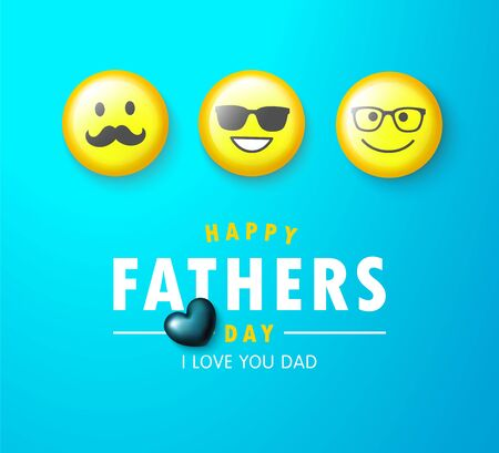Happy father s day banner with yellow emoticons and heart.Design template for posters, postcard, promotional materials.Vector illustration