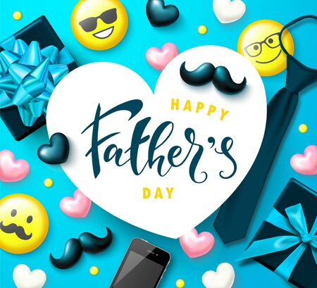 Greeting card for father s day. Decorative elements - Yellow emoticons, tie, glasses, phone, mustache and hearts on a blue background. Vector illustration