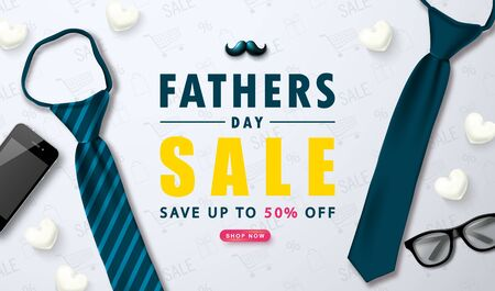 Happy Father s Day sale web banner with tie, glasses, mustache, phone and white hearts.Design template for posters,flyers, invitation, promotional materials, brochure, voucher discount.