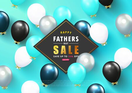 Happy Fathers Day Sale banner with flying balloons.Design template for posters,flyers, invitation, promotional materials, brochure, voucher discount.Vector illustration Ilustração