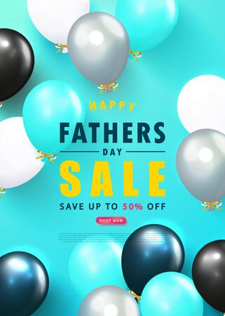 Father s Day sale template vector banner with flying balloons.Design template for posters,flyers, invitation, promotional materials, brochure, voucher discount.