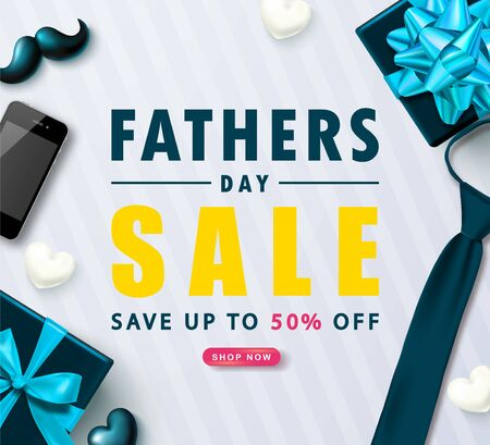 Father's Day Sale banner with gift boxes, ties, phone, mustache and hearts.Design template for posters,flyers, invitation, promotional materials, brochure, voucher discount