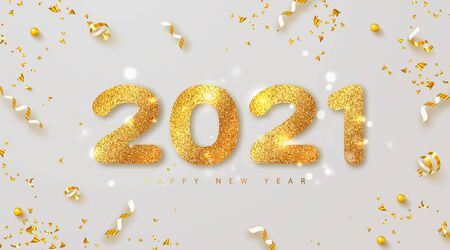 Happy new year 2021 banner with golden luxury numbers and serpentine. Gold Festive Numbers Design. Vector illustration