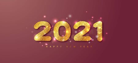 2021 Happy New Year vector background with golden numbers and sparkles. Merry Christmas and Happy New Year holiday symbol template.Holiday greeting card design template. Ilustração