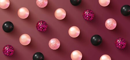 Abstract background with 3D realistic balls.Colorful glossy bubbles. Trendy banner or poster design. Vector illustration