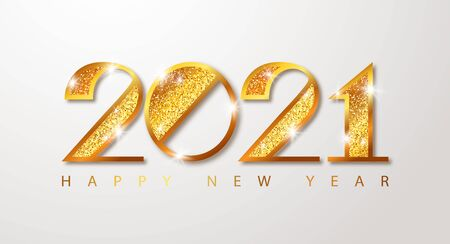2021 Merry Christmas and Happy New Year banner. Luxury golden numbers with glitter.Vector Design Template