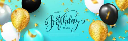 Happy birthday greeting card with balloons and flying serpentine.Design template for birthday celebration.Vector illustration