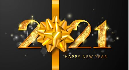 2021 Happy New Year vector background with golden numbers, bow and sparkles. Merry Christmas and Happy New Year holiday symbol template.Holiday greeting card design template. Ilustração