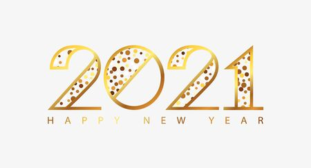 Happy New Year 2021 holiday greeting card with golden numbers. Merry Christmas and Happy New Year holiday symbol template. Vector background