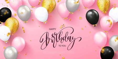 Happy birthday greeting card with colorful balloons and flying serpentine on pink background.Design template for birthday celebration.Vector illustration