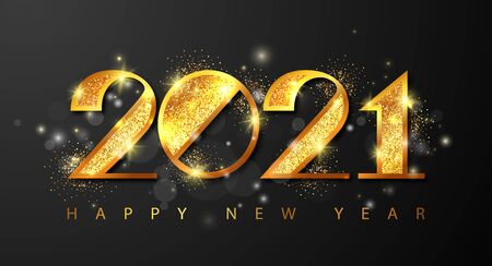 2021 Happy New Year holiday greeting card with golden numbers,sparkles and fireworks. Merry Christmas and Happy New Year holiday symbol template. Vector background