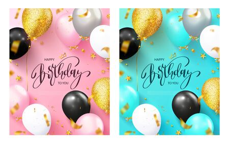 Set of birthday greeting cards. Colorful balloons and flying serpentine on a blue and pink background. Vector illustration. Ilustração