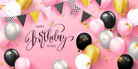 Happy Birthday holiday card with balloons, garland with flags and flying golden serpentine on a pink background.Template design for postcard, flyer,banner, invitation.Vector illustration Ilustração