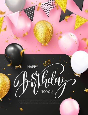 Happy Birthday poster with balloons, garland with flags and flying golden serpentine on a pink background.Template design for postcard, flyer,banner, invitation.Vector illustration Ilustração