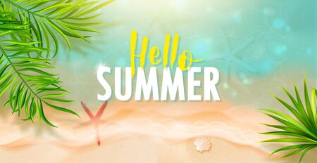 Hello Summer banner template.Top view of the sea wave, starfish and tropical leaves.Beautiful background with seashells on sea sand.Vector illustration.