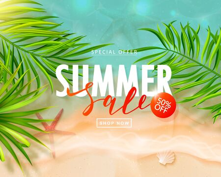 Summer sale card with sea wave, starfish and tropical leaves.Beautiful background with seashells on sea sand. Template banners,Wallpaper,flyers, invitation, posters, brochure, voucher discount.Vector illustration.