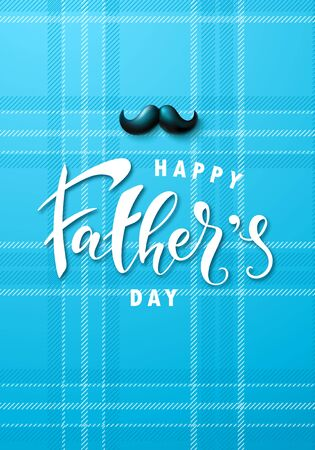 Happy fathers day banner with mustache. Template design for postcard, flyer,poster, invitation.Vector illustration