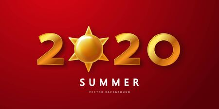 Summer 2020 red background with Golden numbers and sun.Vector illustration for postcard, banner, poster and other design