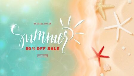 Summer sale with sea wave and starfish.Beautiful background with seashells on sand. Template flyers, invitation, posters, brochure, voucher discount.Vector illustration Ilustração