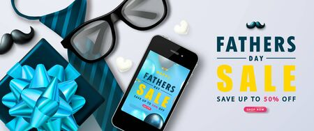 Happy Fathers Day Sale banner with gift box, ties, glasses, phone, mustache and hearts.Design template for posters,flyers, invitation, promotional materials, brochure, voucher discount. Ilustração