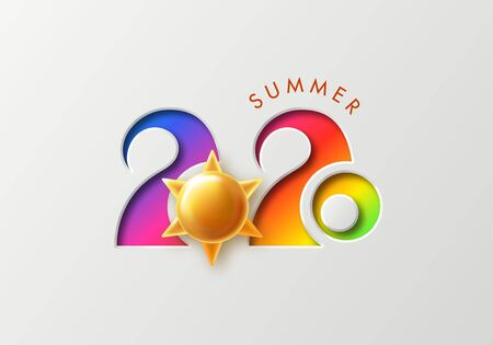 Summer 2020 background with cut numbers and Golden sun.Vector illustration for postcard, banner, poster and other design