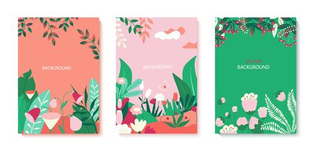 Set of vector illustrations with flowers and tropical leaves. Colorful plants. Templates for social networks, event invitations, greeting cards, advertising banners.