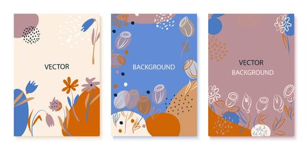 Set of abstract cards with hand drawn doodles. Hand drawn flowers .Vector illustration, for greeting cards, invitations and brochures.