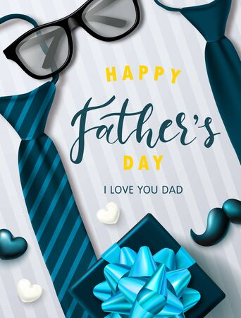 Happy father's day banner with glasses, tie, gift box, mustache and hearts.Design template for posters, postcard, promotional materials.Vector illustration. Ilustração