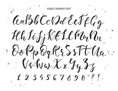 Vector hand drawn alphabet. Brush painted letters, rough contour.Hand drawn calligraphic vector font. Modern calligraphy