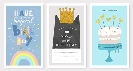 Happy birthday greeting cards and party invitation templates, hand drawn style.Vector illustration. Illustration