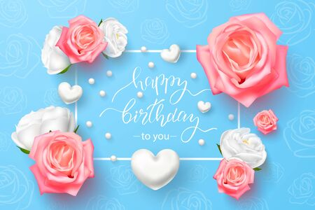 Happy Birthday with 3D flowers, white hearts on a blue background.Vector illustration for cards, banners, invitations Ilustração