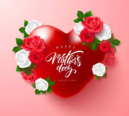 Greeting card for Mothers Day with beautiful flowers and hearts .Vector illustration for banner, invitation, flyer.
