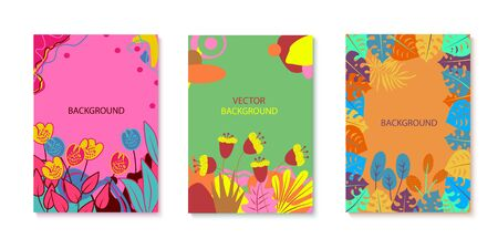 Set of abstraction vector illustrations with flowers and tropical leaves. Colorful plants with hand-drawn elements. Templates for social networks, event invitations, greeting cards, advertising banner