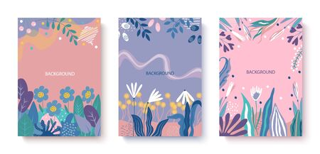 Vector abstract set cards decorated with herbs and flowers. Applicable for advertising banners, cards, event invitations, posters, covers
