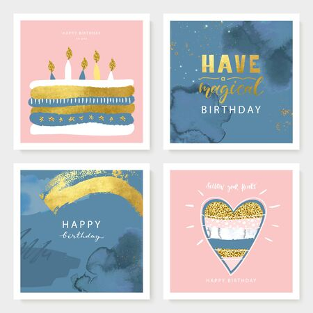 Set of Birthday greeting cards and party invitation templates with cute hand drawn elements. Vector illustration