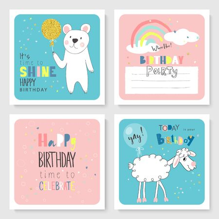 Set of Birthday greeting cards and party invitation templates with cute hand drawn animals. Vector illustration Illustration