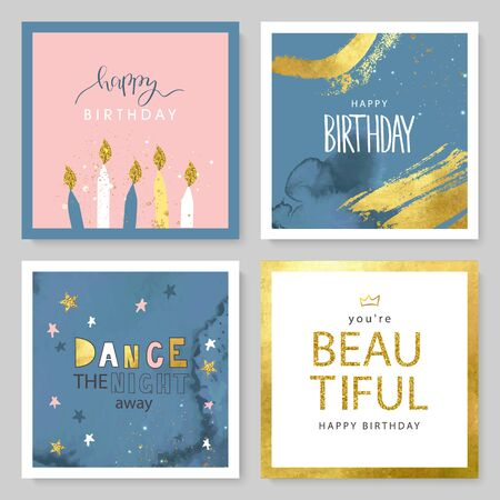 Set of Birthday greeting cards and party invitation templates with hand drawn elements and watercolor texture. Vector illustration Illustration
