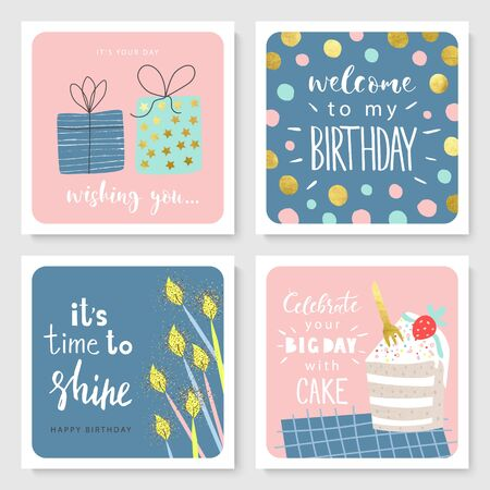 Set of Birthday greeting cards and party invitation templates with cute hand drawn elements. Vector illustration.