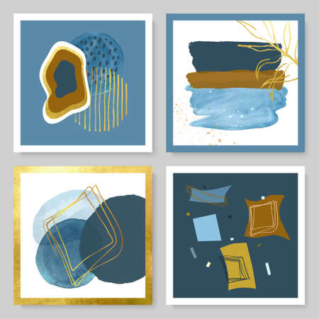 Set of abstract illustrations with watercolor texture, gold strokes and tropical leaves.Minimalistic design,hand-drawn creative elements.Backgrounds for decorating walls, covers,postcards, brochures and more.vector Illustration