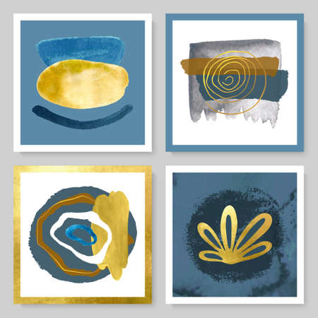 Set of abstract illustrations with watercolor texture, gold strokes and tropical leaves.Minimalistic design,hand-drawn creative elements.Backgrounds for decorating walls, covers,postcards, brochures and more. Illustration