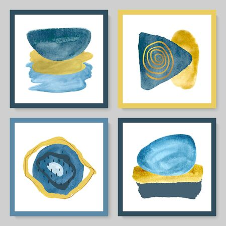 Set of abstract illustrations with watercolor texture and gold strokes.Minimalistic design,hand-drawn creative elements.Backgrounds for decorating walls, covers,postcards, brochures.