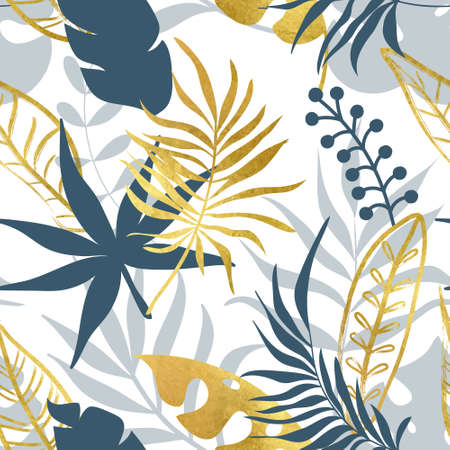 Trendy seamless pattern with tropical leaves. Modern abstract design for paper, wallpaper, cover, fabric and other users. Vector illustration Illustration