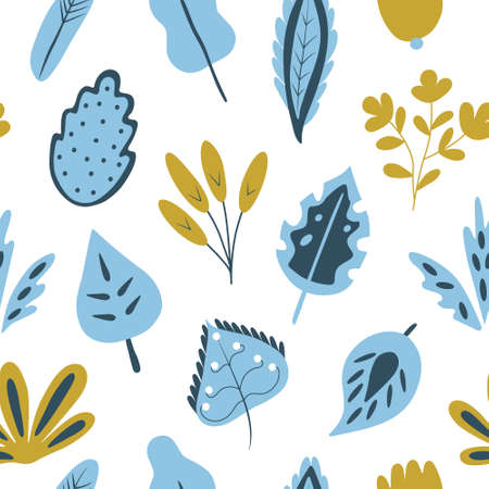 Trendy seamless pattern with hand drawn plants. Modern abstract design for paper, wallpaper, cover, fabric and other users. Vector illustration Illustration